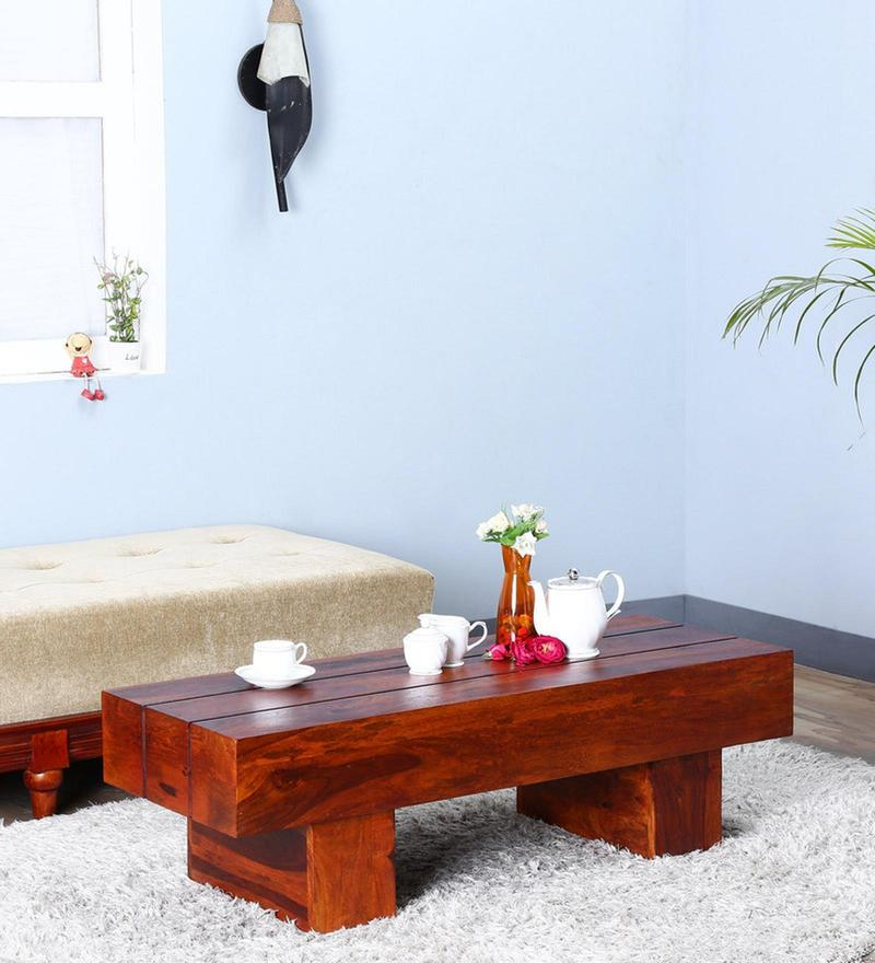 Oakville Low Height Solid Wood Coffee Table in Honey Oak Finish on Rent