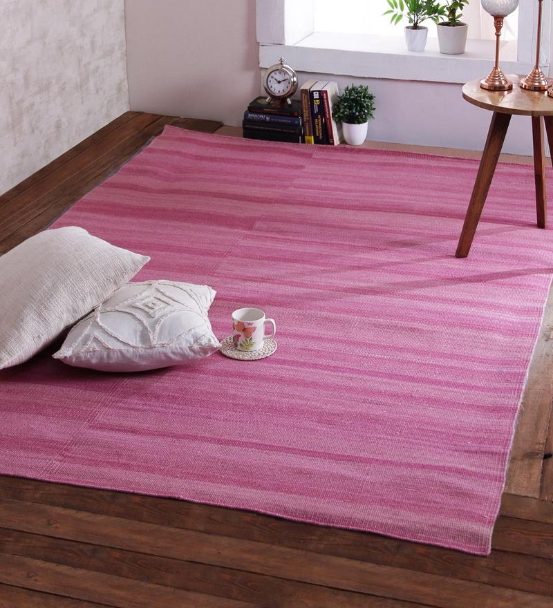 Pink Wool 96 x 60 Inch Brokenline Dhurrie by Obeetee