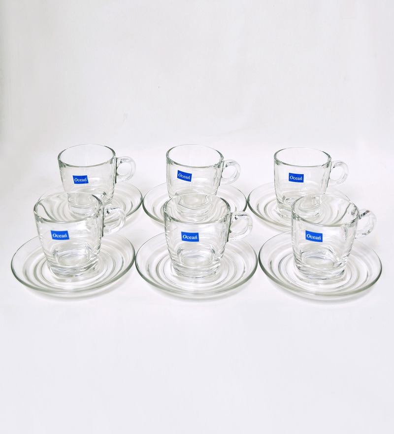 Ocean Caffe Cappuccino Glass 195 ML Cups & Saucers - Set of 6