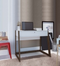 Oda Study Table With Drawer In White & Dark Oak Finish