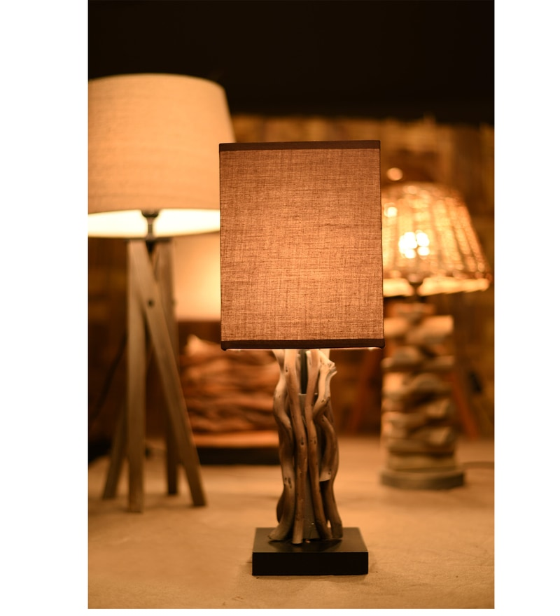 Brown Fabric Gnarled Wild Table Lamp by OddCroft