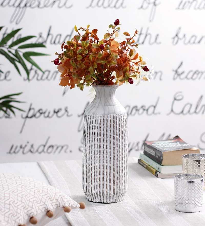 Beige & Brown Ceramic Gingerstripe Large Vase by OddCroft