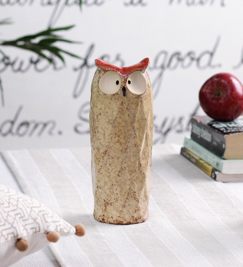 Rust Ceramic Horned Owl Short Vase by OddCroft