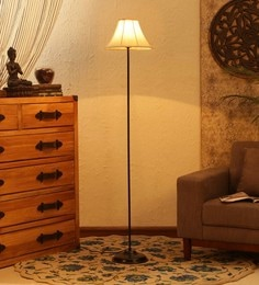 Off White Cotton Floor Lamp - 1680003