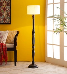 Off White Cotton Floor Lamp - 1680018