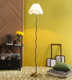 Off White Cotton Floor Lamp By New Era - 1672759