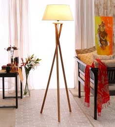 Contemporary Mango Wood Tripod Floor Lamp