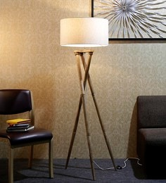 Off White Fabric Floor Lamp