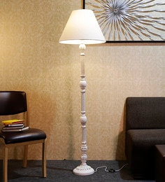 Off White Fabric Floor Lamp - 1690792