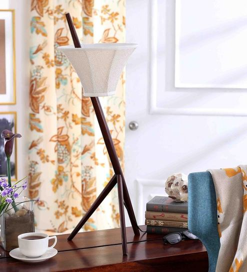 Off White Cottan Fabric Table Lamp By Rooms Gravity