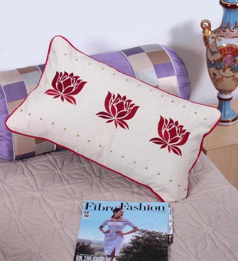 Off White Cotton 12 x 20 Inch Cushion Cover by Vista Home Fashion