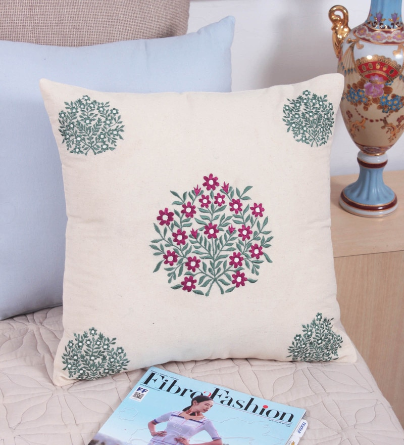 Off White Cotton 16 x 16 Inch Cushion Cover by Vista Home Fashion