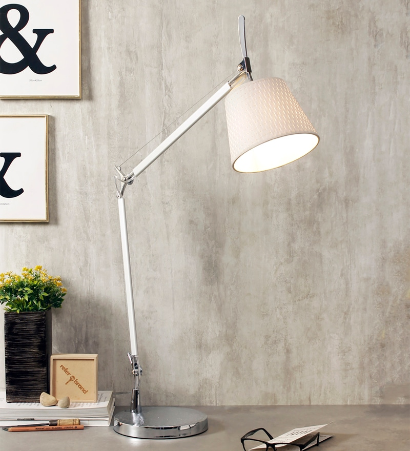 Off White Fabric Desk Lamps by Jainsons Emporio