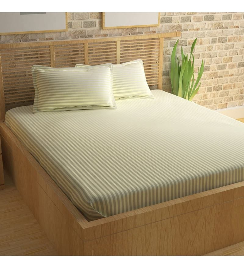 Off White King Size Bed Sheet Set By Story@Home