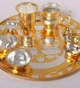 Multicolour Stainless Steel Gold & Silver Plated Puja Set by Ojas