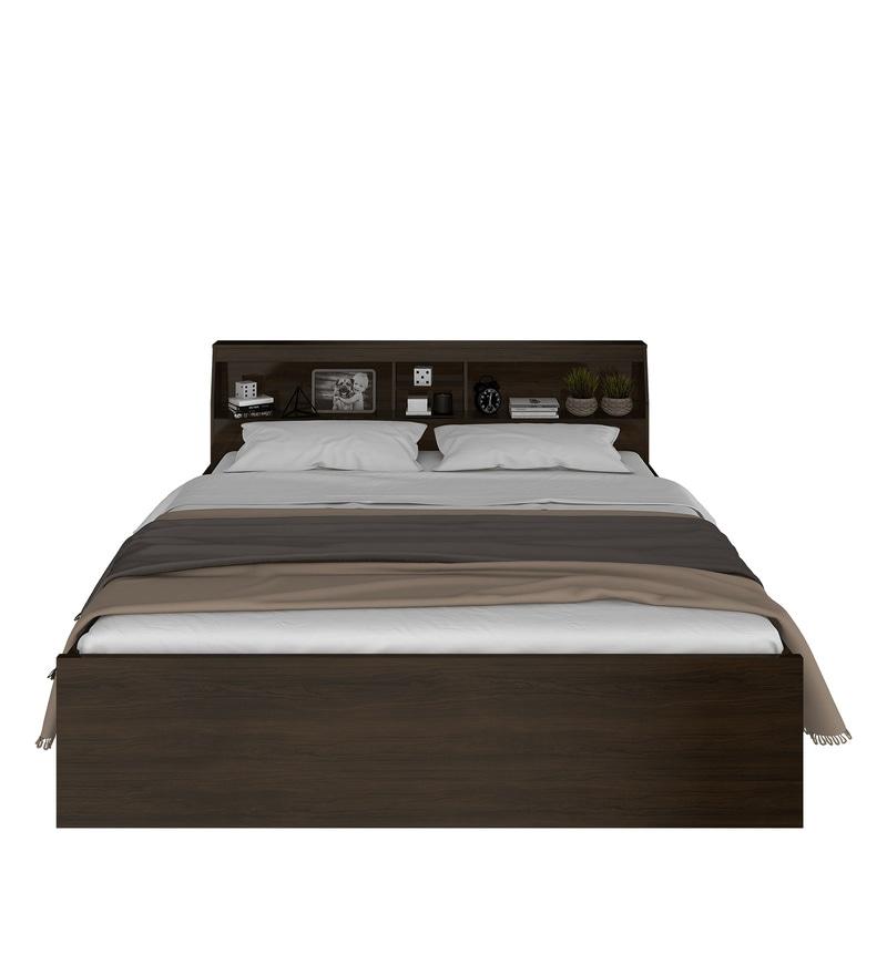 Buy Okinawa King Size Bed With Headboard Storage In Chocolate Finish