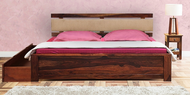 Olney King Bed with Storage in Provincial Teak Finish by Woodsworth