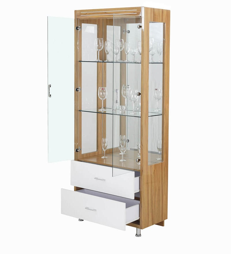 Buy Orchid Wine Cum Hutch Cabinet In White Amp Maple Finish