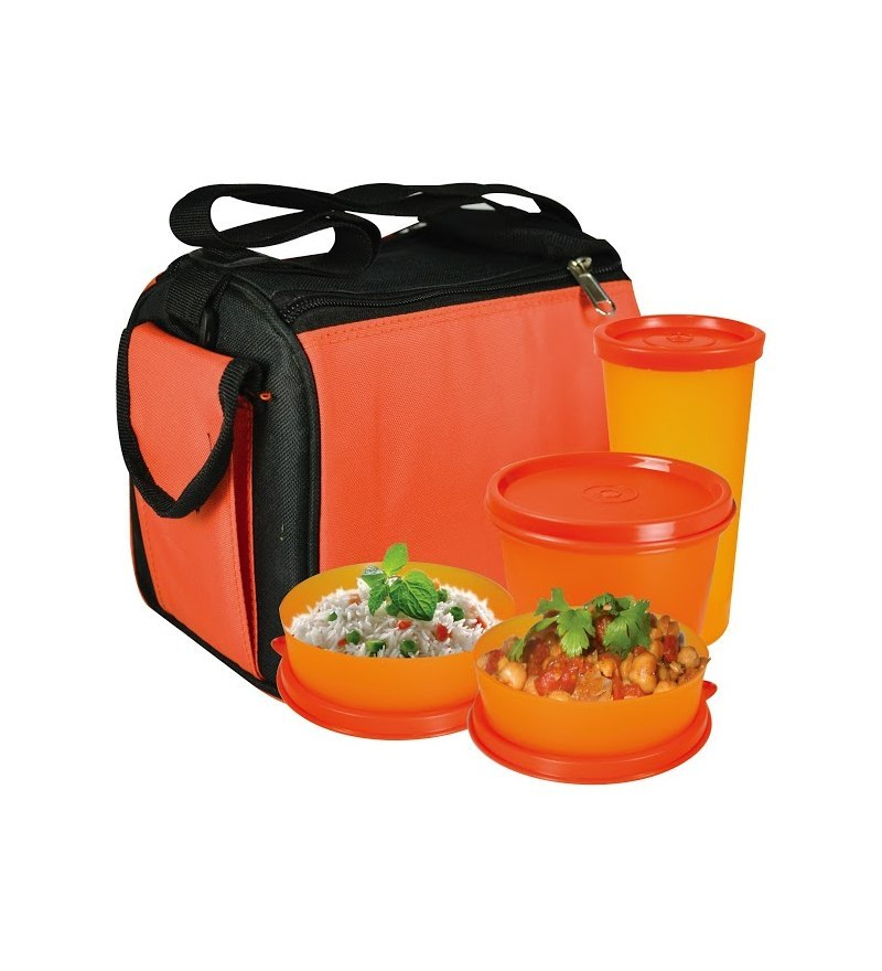 Oliveware Quick Carry Plastic Lunch Box With Bag - Set of 4