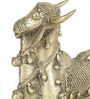 Olha-O Golden Metal Nandi Sitting with Bells Showpiece