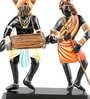 Olha-O Multicolour Wood & Wrought Iron Adivasi Couple Table Top Figurine