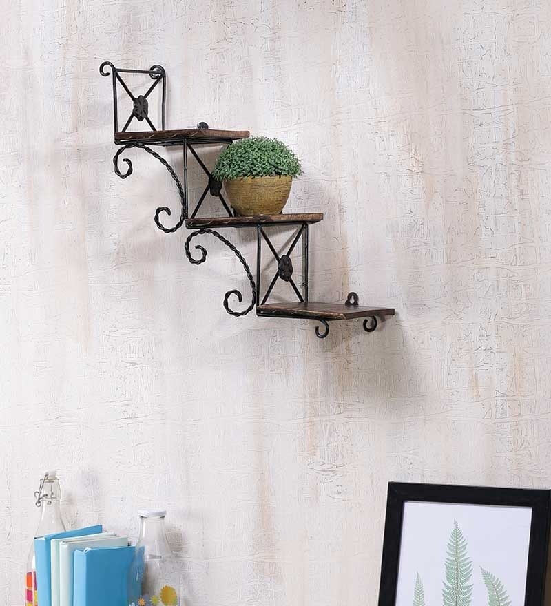 Brown Mango Wood Hanging Wall Shelf by Onlineshoppee