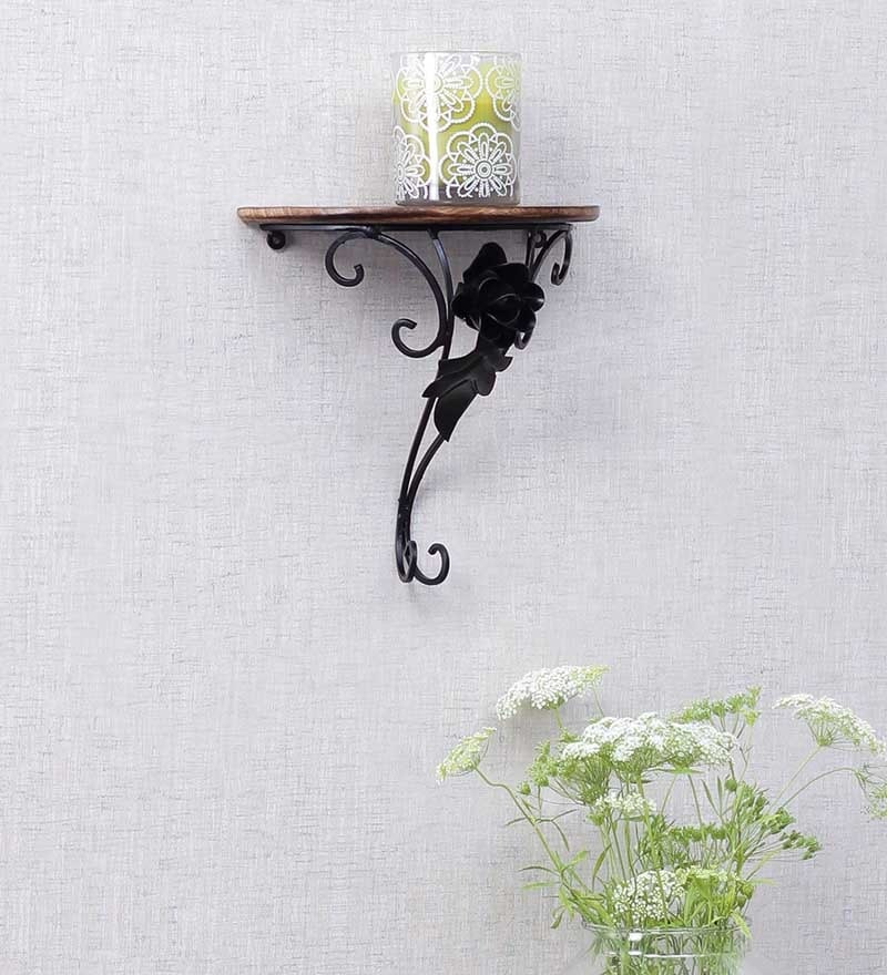 Brown Mango Wood Wall Rack by Onlineshoppee