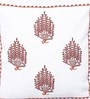 Brown & Orange Cotton 16 x 16 Inch Anardana Embroidered Cushion Cover by One Good Thing
