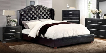 Opulent Queen Size Bed In Black Leatherette