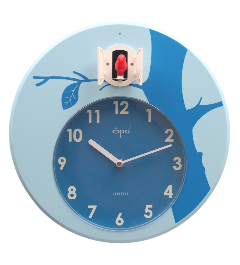 Buy opal blue abs 12 5 inch round hourly bird sound cuckoo clocks online cuckoo clocks - Cuckoo bird clock sound ...