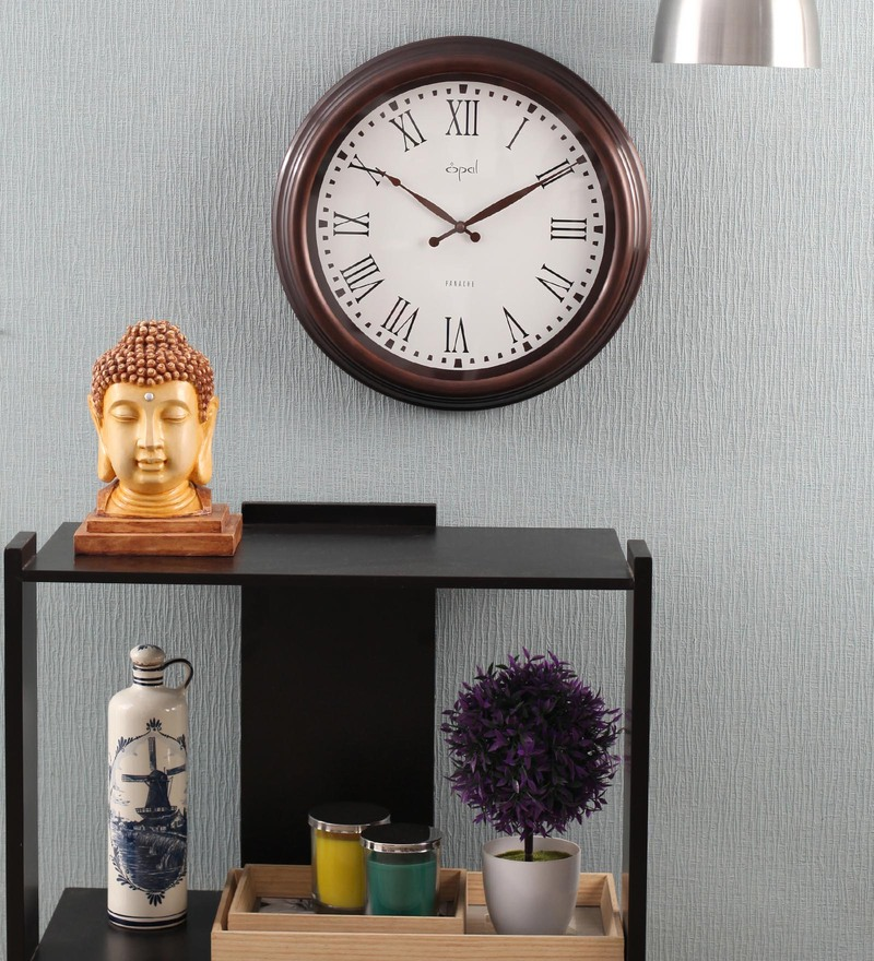 Buy Opal Silver Metal 15 Inch Round Designer Wall Clock Online