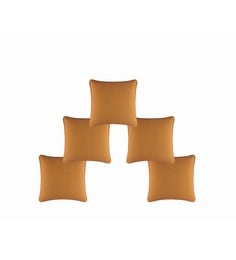 Orange 100% Cotton 16 X 16 Inch Cushion Covers - Set Of 5