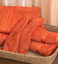 Orange 100% Cotton Bath, Hand & Face Towels - Set Of 6
