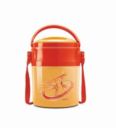 Orange Plastic & Stainless Steel Airtight Lunch Box With 3 Containers