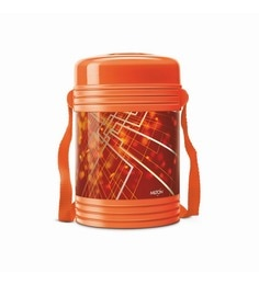 Orange Plastic & Stainless Steel Lunch Box With 4 Leak Lock Containers - 1613444