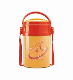 Orange Plastic & Stainless Steel Lunch Box With Leak Lock 4 Containers