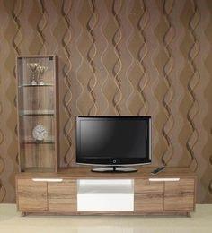 Oria Entertainment Unit Cum Book Shelf With Display Shelf In Virgin Oak Finish