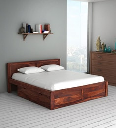 fee208f632 Oriel Solid Wood King Size Bed with Two Drawer Storage in Honey oak Finish  ...