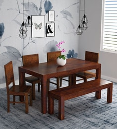 Oriel Solid Wood Six Seater Dining Set With Bench In Honey Oak Finish