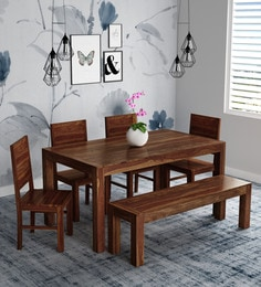 Oriel Solid Wood Six Seater Dining Set With Bench In Provincial Teak Finish