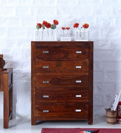 Oriel Chest Of Five Drawers In Honey Oak Finish