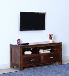 Oriel Solid Wood Two Drawer TV Unit In Provincial Teak Finish