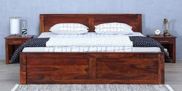Oriel Queen Bed With Box Storage In Honey Oak Finish