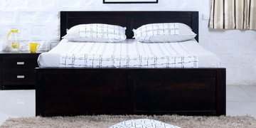 Oriel Queen Bed With Two Drawer Storage In Warm Chestnut Finish