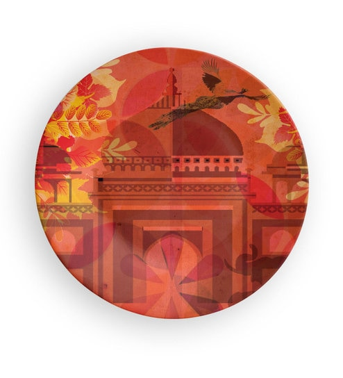 Orange Ceramic Mughal Palace Decorative Wall Plate By Quirk India
