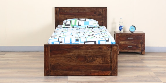Delicieux Oriel Solid Wood Single Bed With Drawer Storage In Provincial Teak Finish