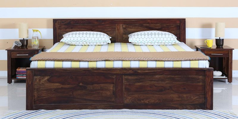 Oriel Solidwood Queen Bed with Box Storage in Provincial Teak Finish by Woodsworth