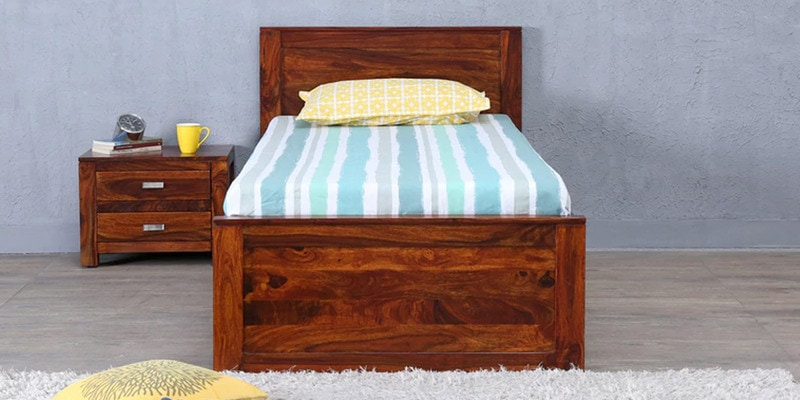 Oriel Solidwood Single Bed with Drawer Storage in Honey oak Finish by Woodsworth