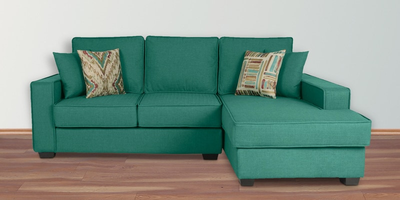Oritz LHS Two Seater Sofa with Lounger and Cushions in Jade Colour by CasaCraft