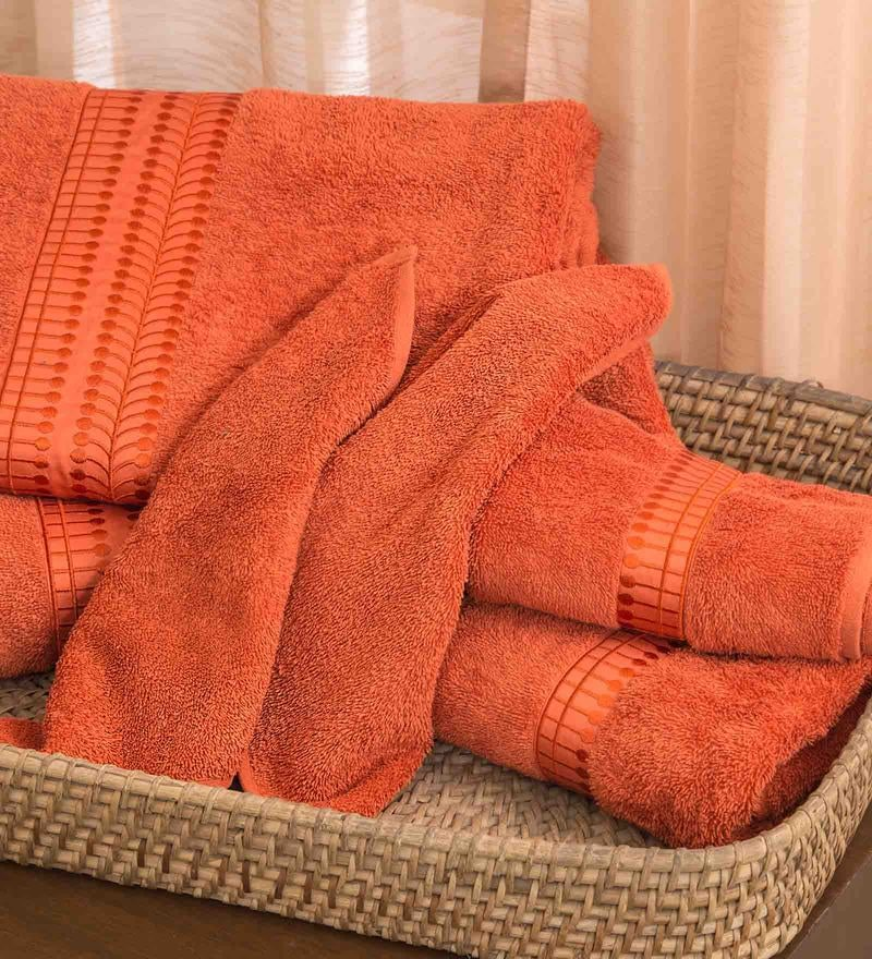 Orange 100% Cotton Bath Towel by Maspar